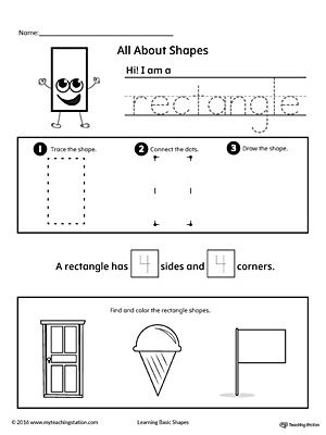 Free Rectangle Shapes Worksheet for Preschool