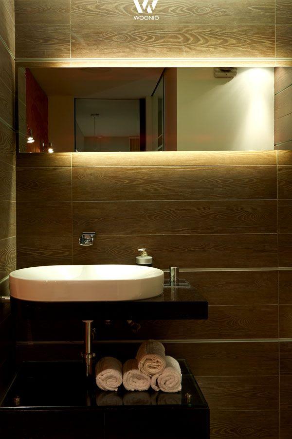 Indirekte Beleuchtung hinter dem Spiegel im Badezimmer Pinterest