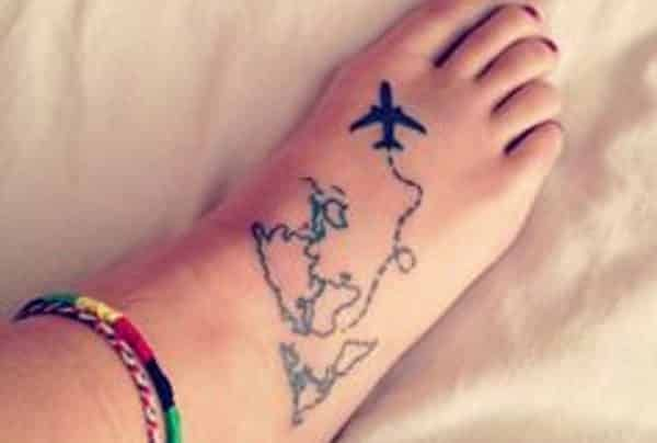 e5582aef8 World Tattoos On Feet 20 terrific world map tattoo design ideas ...