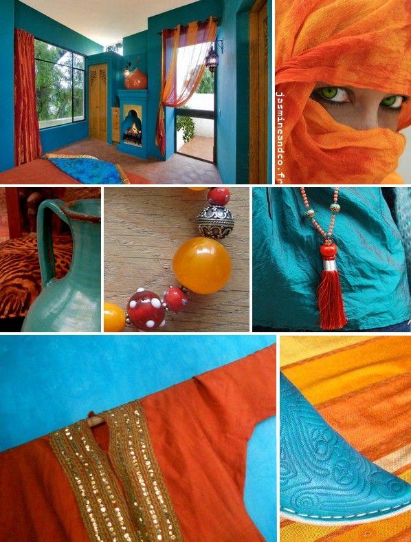 décoration marocaine turquoise orange | déco