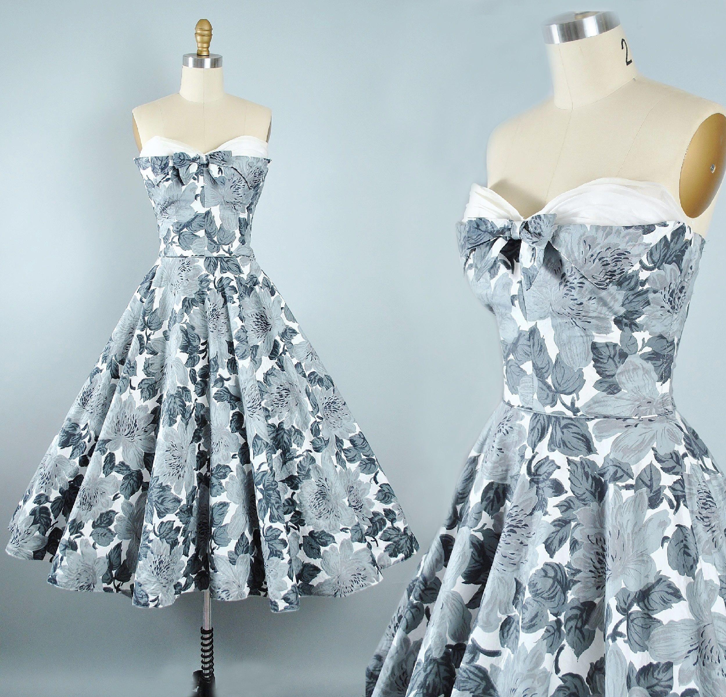 Vintage 50s Dress / 1950s Cotton Sundress Strapless SWEETHEART Petal ...