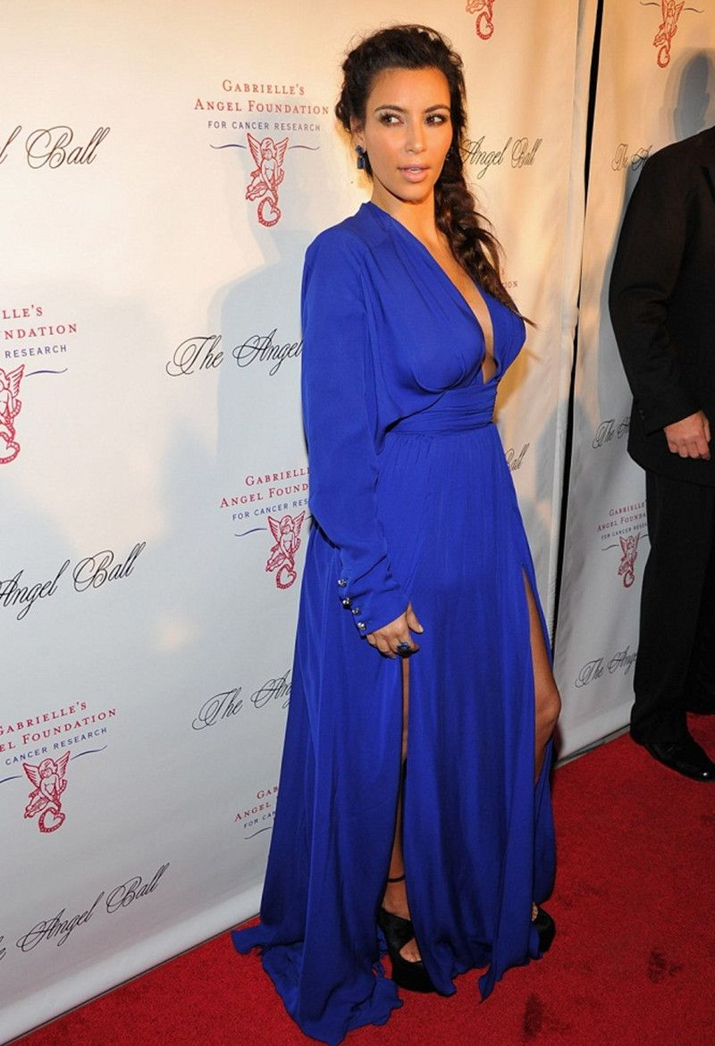 High quality cheap red carpet dress plunging deep v neck royal blue