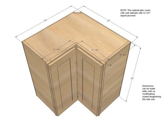 Ana White | Build a Wall Corner Pie Cut Kitchen Cabinet | Free and ...