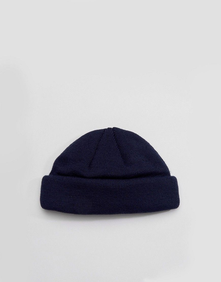 ASOS Mini Fisherman Beanie In Navy - Navy