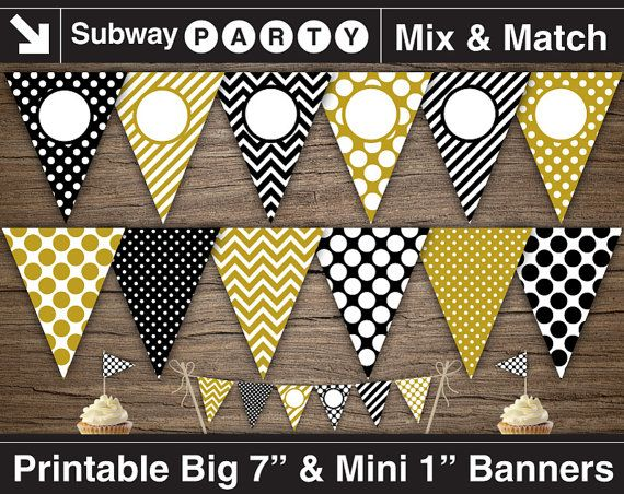 Gold Black And White Adult Party Printable Banner And Mini Cake