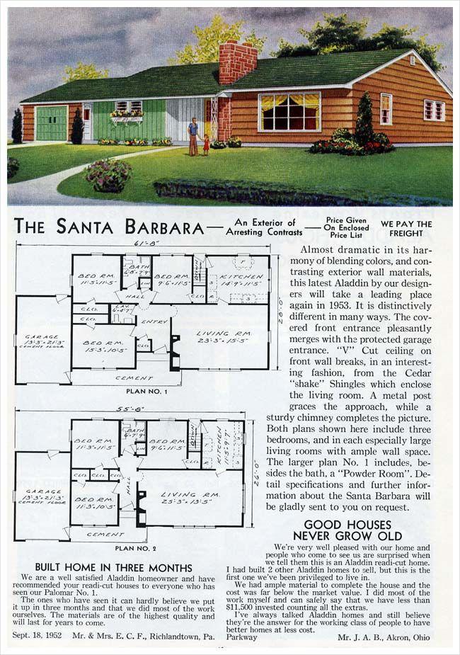 Aladdin Homes Santa Barbara 1953 Ranch House Plans Vintage House Plans House Plans With Pictures