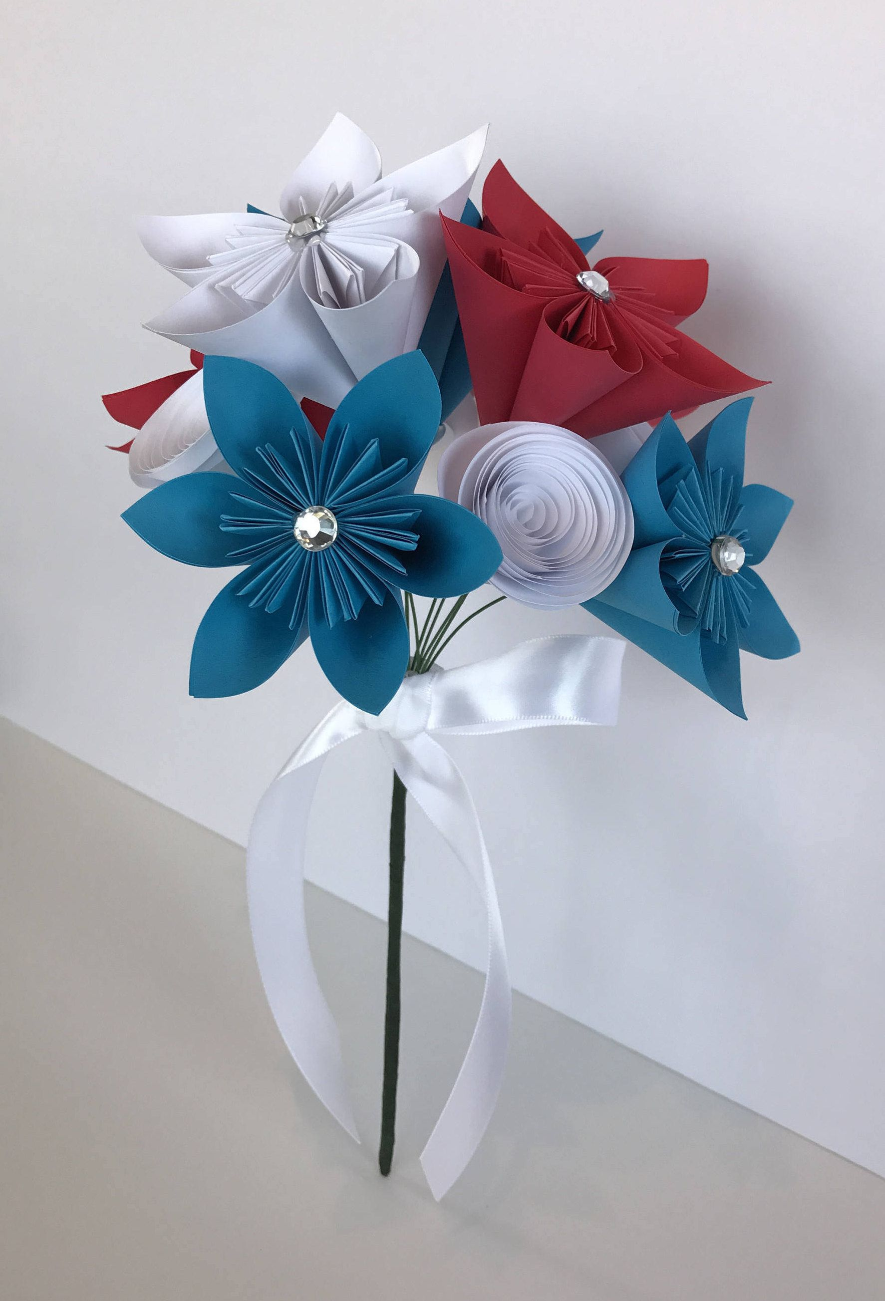 Patriotic Origami Flower Bouquetred White And Bluecenterpiece