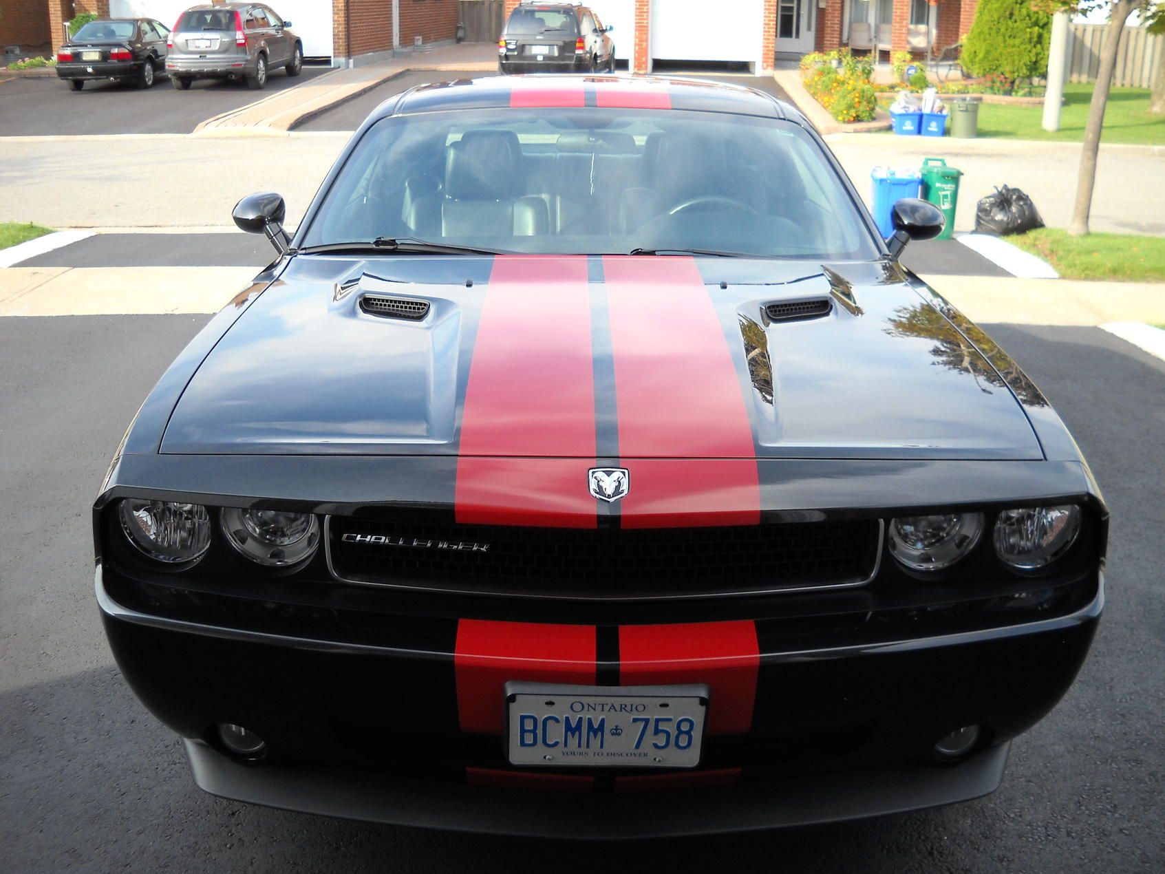 With red stripes dodge challenger