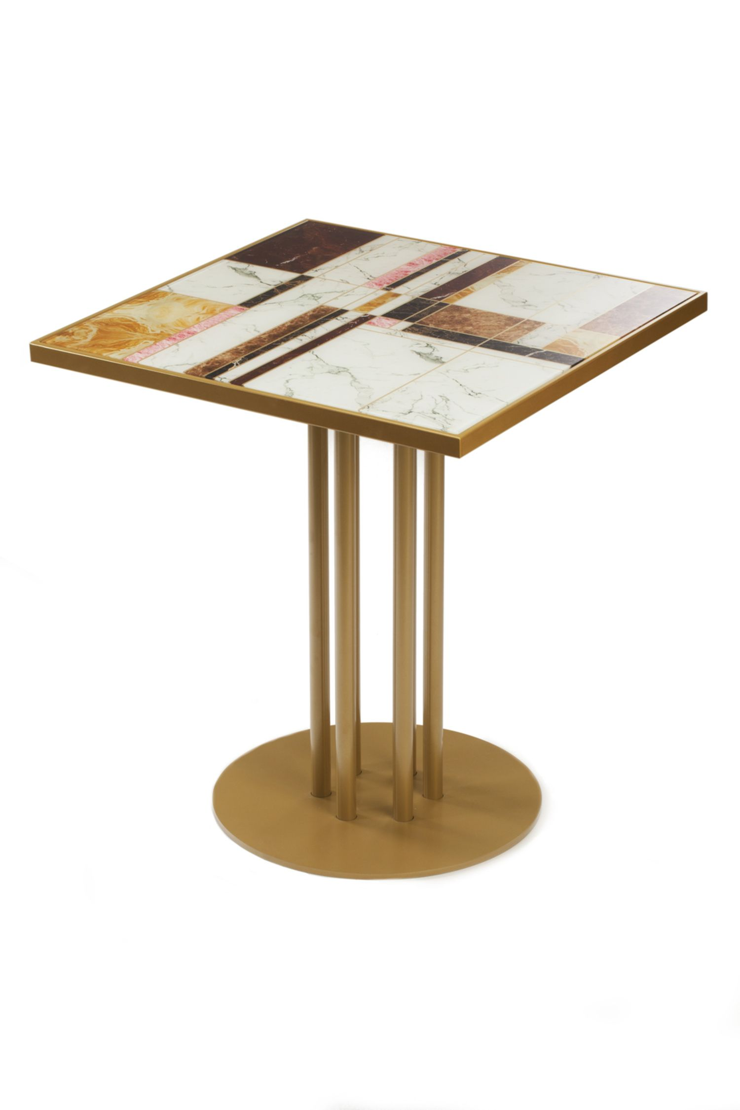 Praga Dinner Table With Printed Glass Top And Gold Metal Feet Restaurant Table Tops Table Top Design Marble Flooring Design