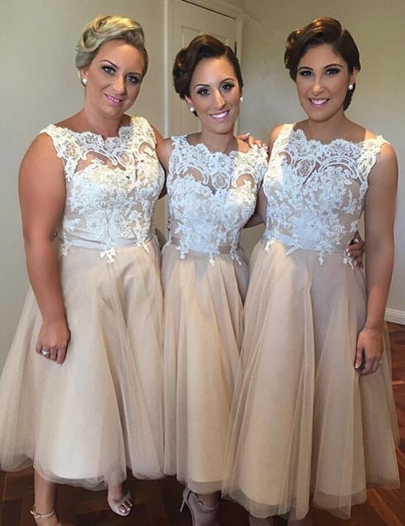 Short wedding dresses plus size  White Lace Short Bridesmaid Dress  Sheer Neck Tea Length
