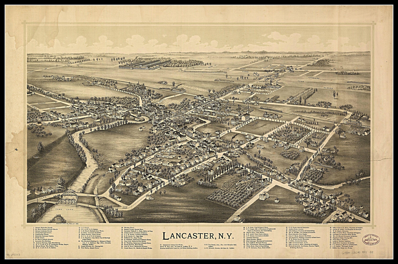 Lancaster Ny Panoramic Map Vintage Map Vintage Map Art Vintage