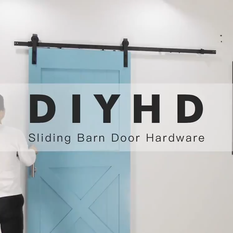 6ft 6 6ft Sliding Modern Barn Wood Bathroom Door Hardware With Latched Roller Track Video Video In 2020 Diy Barn Door Hardware Barn Door Diy Sliding Door