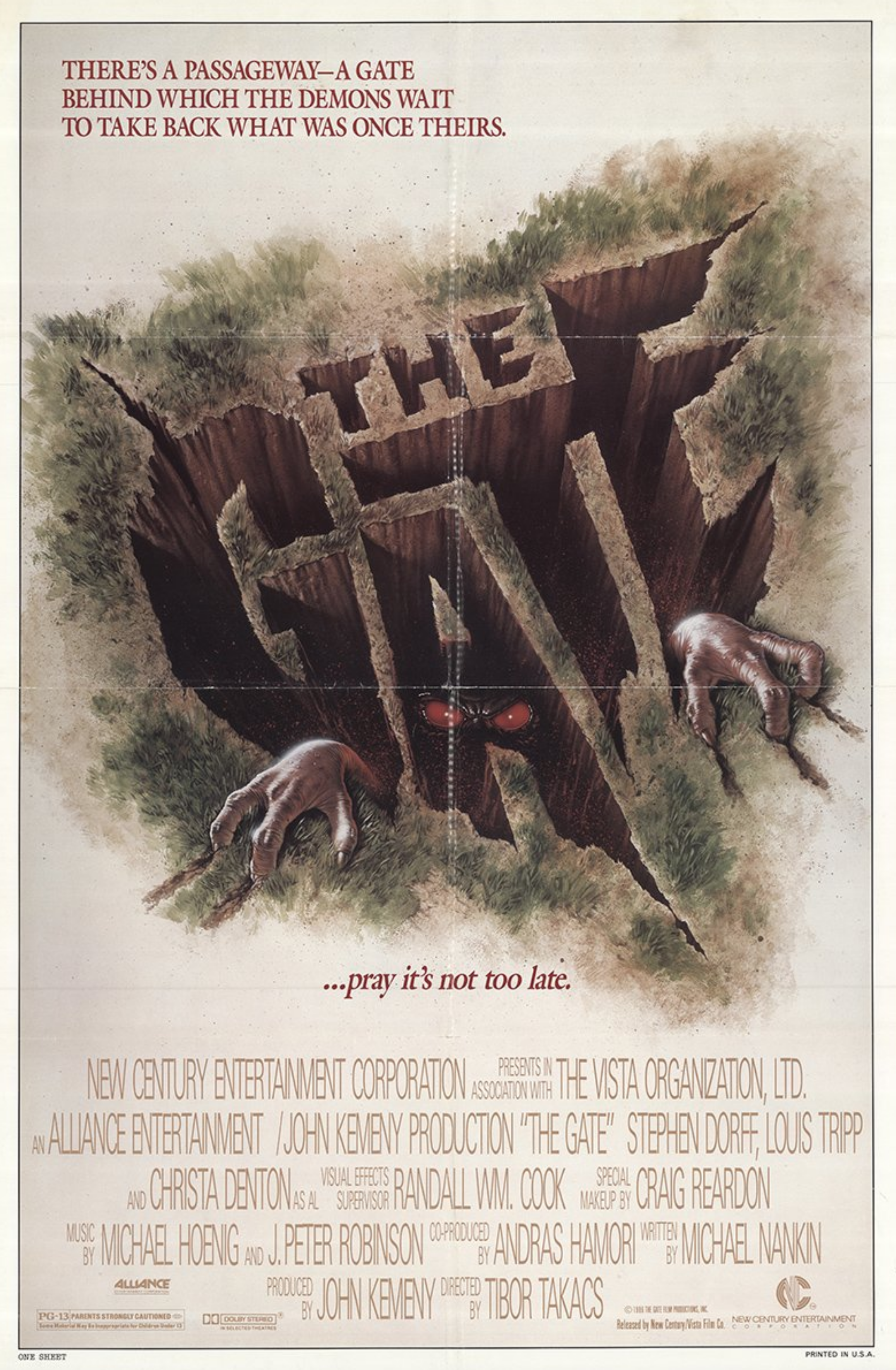Original Movie Poster for The Gate from 1987. Horror
