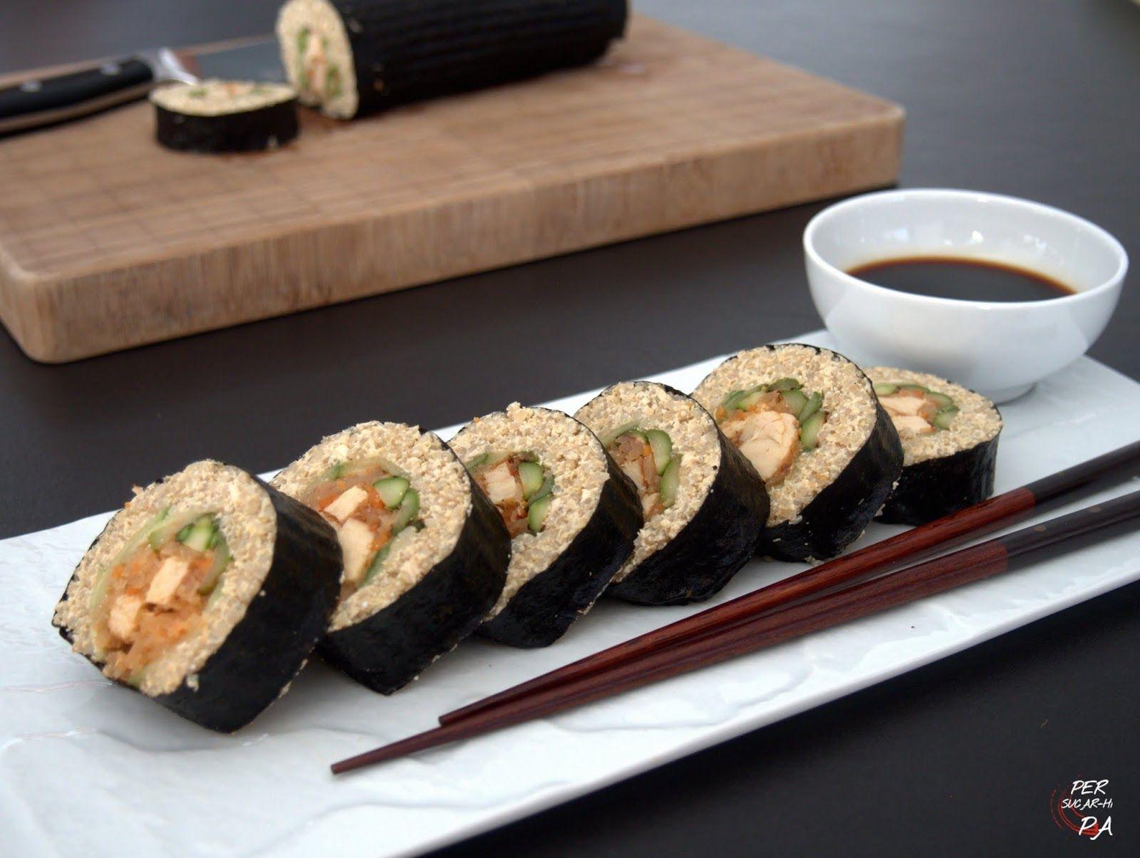 Sushi Fusión De Quinoa, Tofu, Kimchi Y Pollo