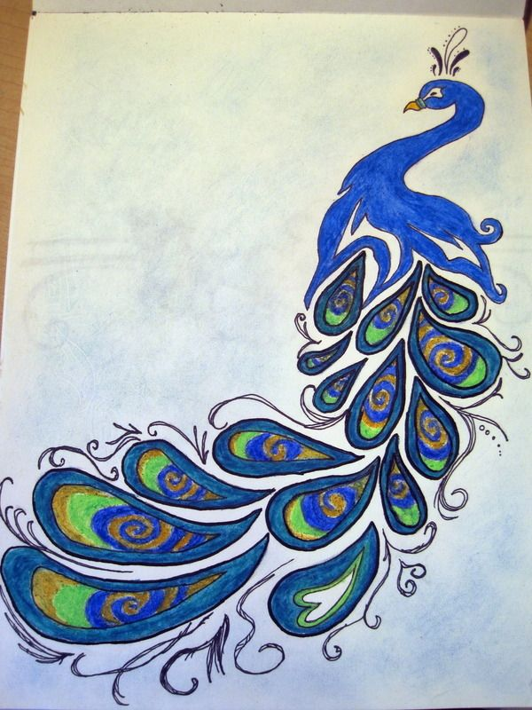Simple peacock drawings - photo#1