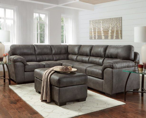 Sequoia Ash Two Piece Sectional With Images Faux Leather Sectional Leather Sectional Living Room Sectional Living Room Sets