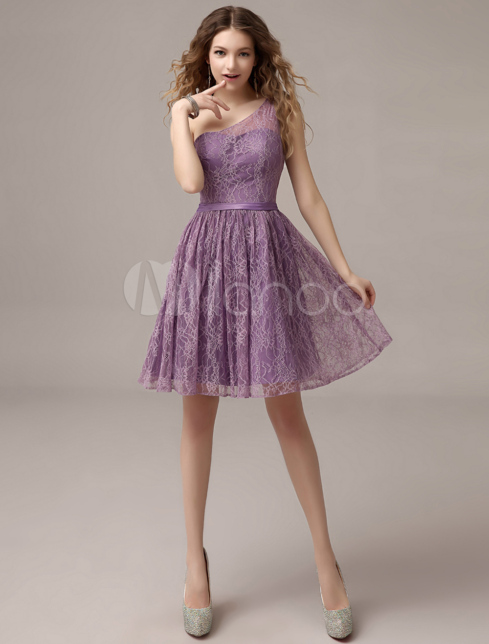 Lavender One-Shoulder Knee-Length Lace Bridesmaid Dress with ...