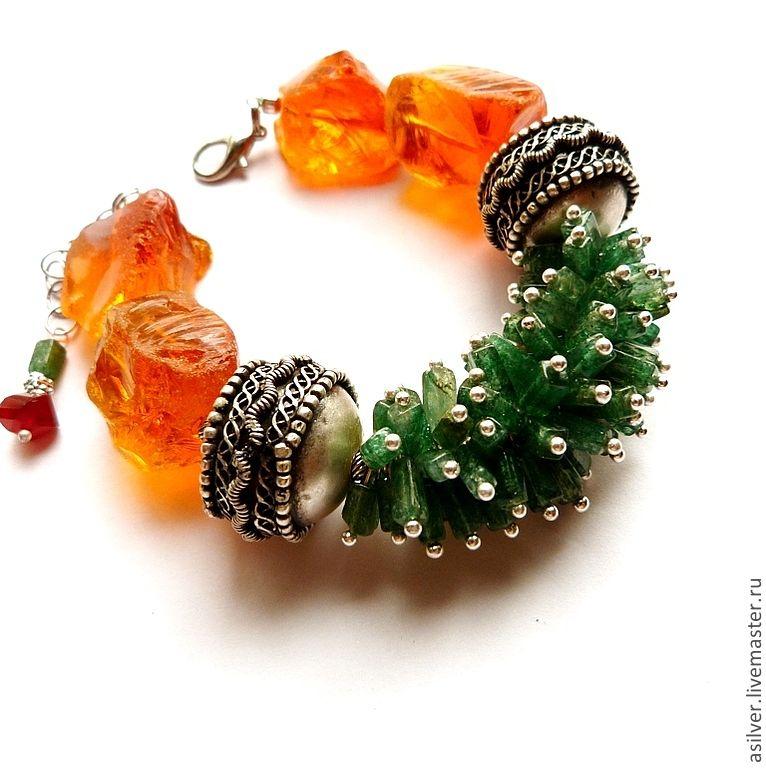 """Купить Браслет """"Апельсиновый"""" - оранжевый, апельсиновый цвет, оранжевый браслет, крупный браслет, яркий браслет"""