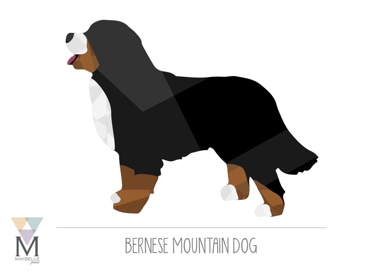 19a388568326 Bernese Mountain Dog art - Geometric Print - DIGITAL DOWNLOAD by ...