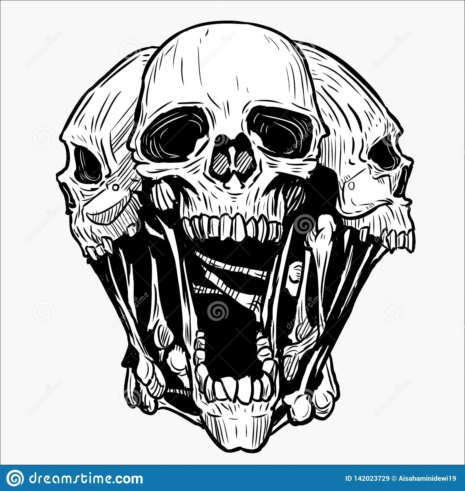 Illustration about Skull vector for tattoo designs, t