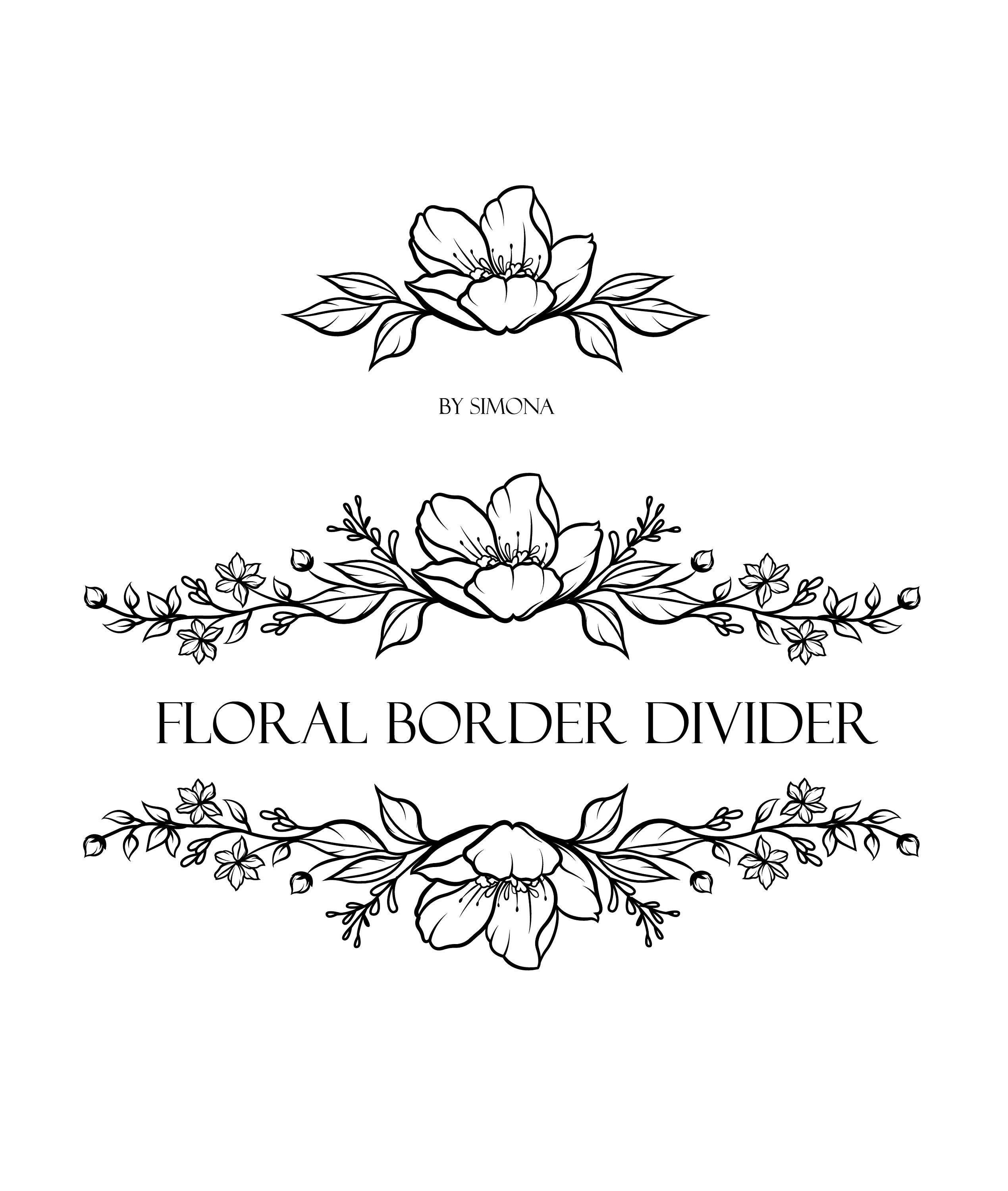 Flowers Floral Border Divider Hand Drawn Logo Etsy In 2020 Floral Border Flower Drawing Floral Doodle