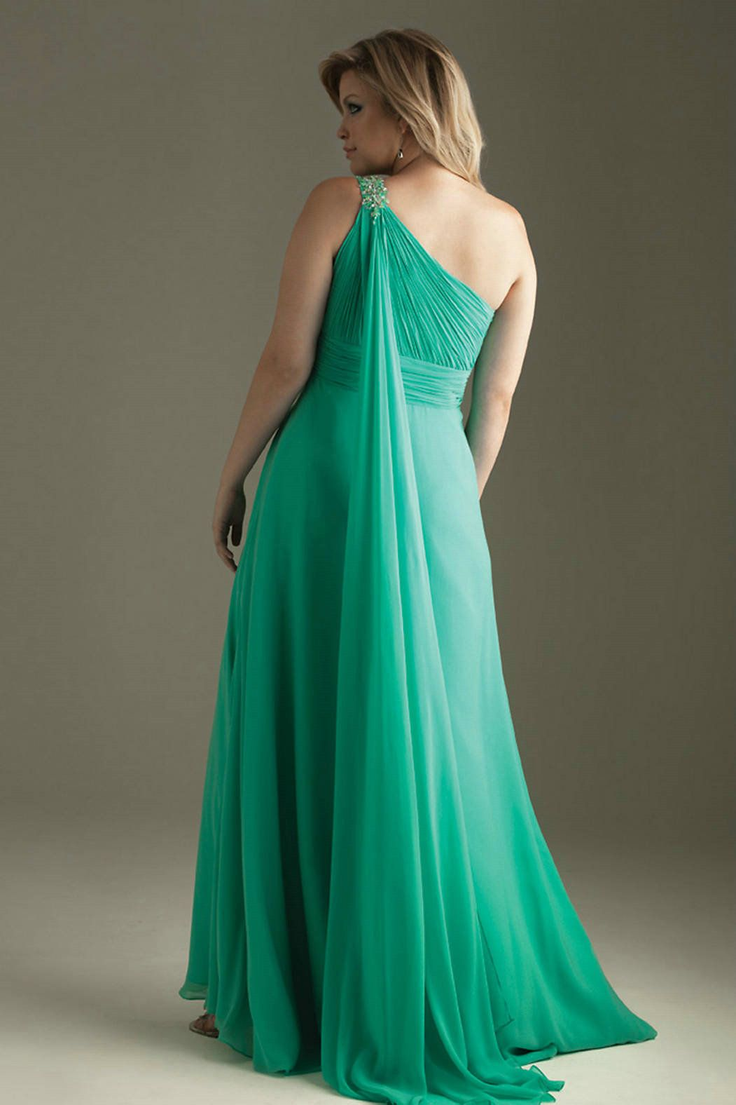 One Shoulder Elegant Chiffon Beaded Floor Length Aqua Dresses Plus ...