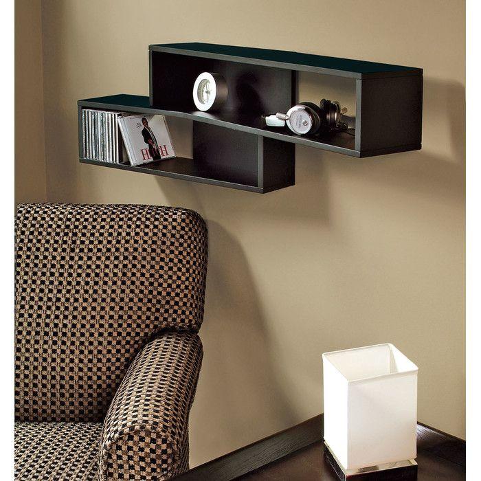 "Ebern Designs Avely 38"" Angled Wall Shelf Black wall"