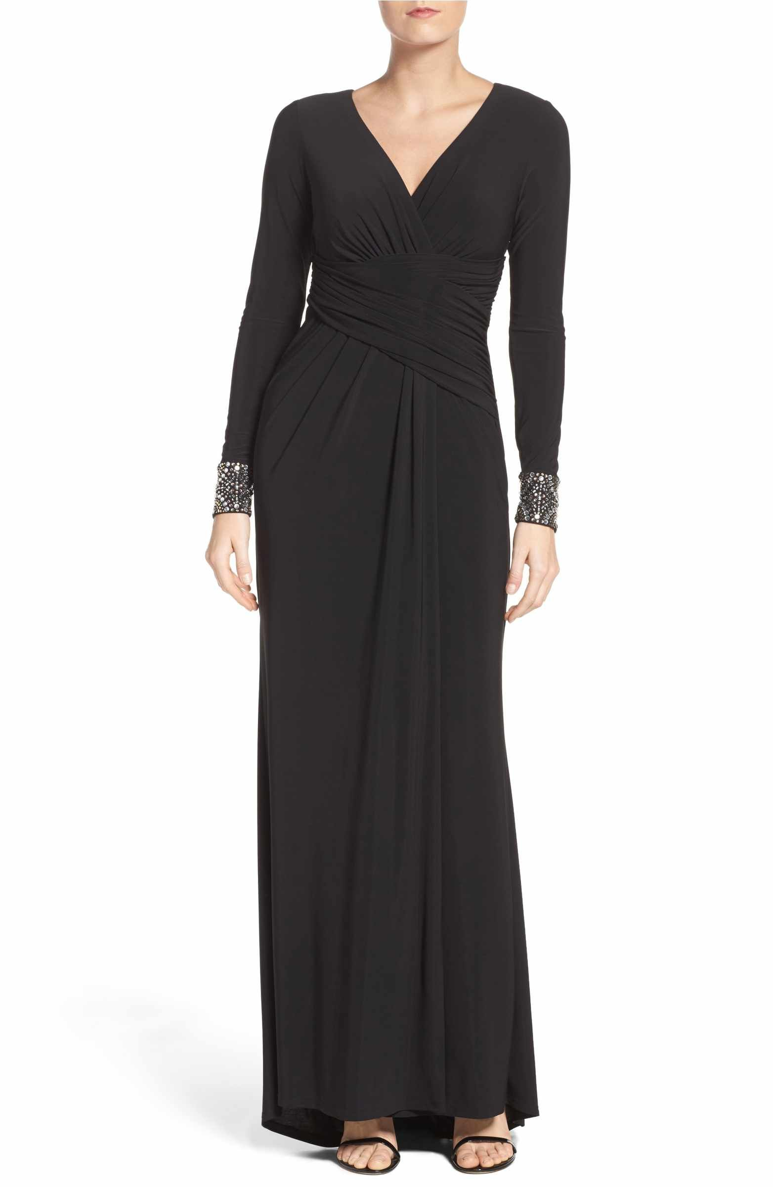 Main image vince camuto embellished sleeve jersey gown nordstrom