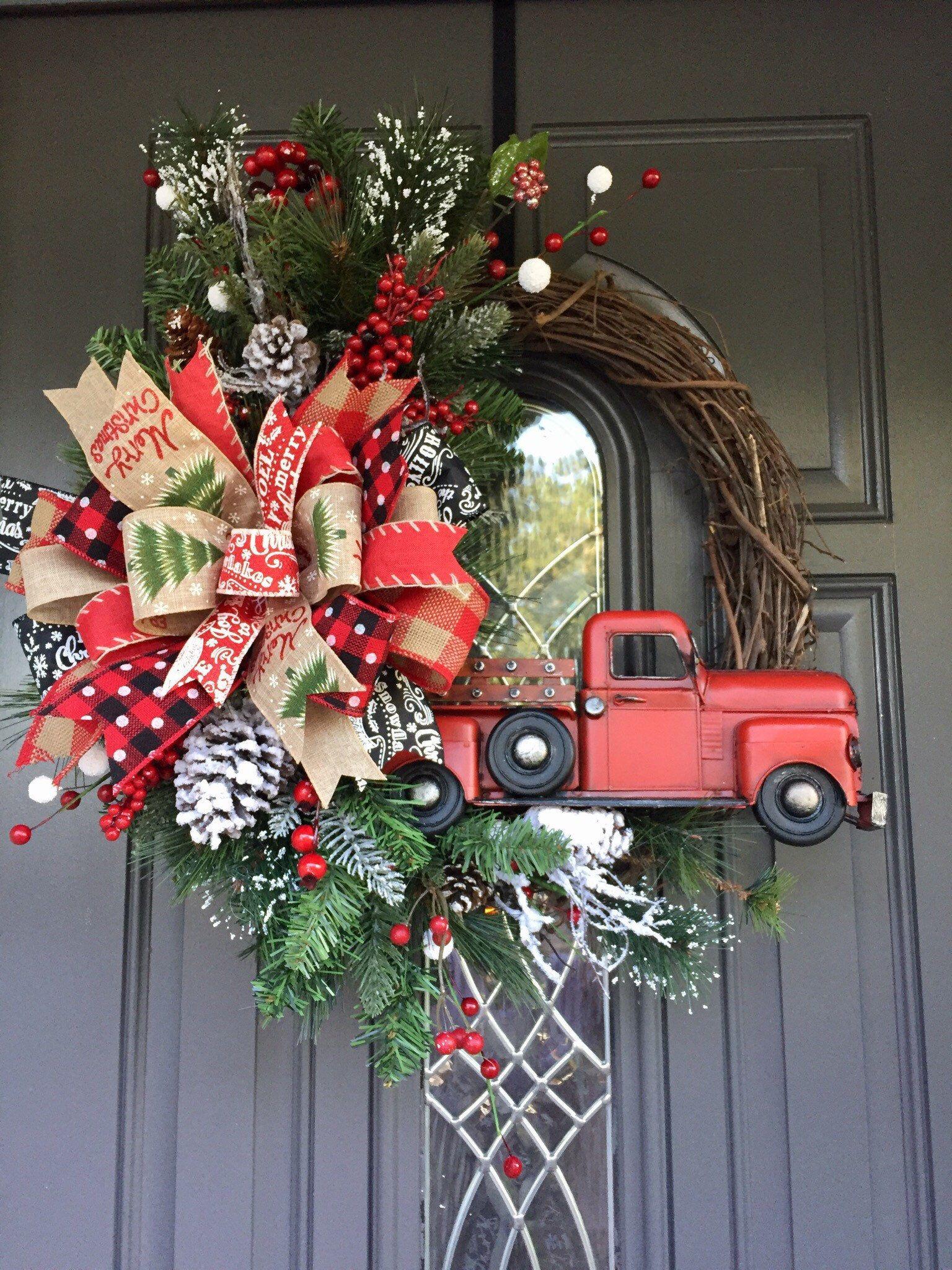 Joy Wreath Christmas Wreath Christmas Red Truck Wreath Country Wreath Christmas Decorations Christmas Red Truck Decor Red Truck Wreath