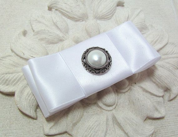 White Satin Bow Hair Clip. French Barrette. Pearl accent. Wedding Headpiece
