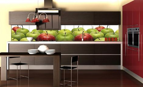 Kitchen, Cool Backsplash Of Kitchen With Fruits Painting On Tile Along With Countertop As Well As Table And Chairs: Setting Up Of Images Of ...