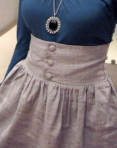 High Waisted Button Up Skirt | Project shirt to dress | Pinterest ...
