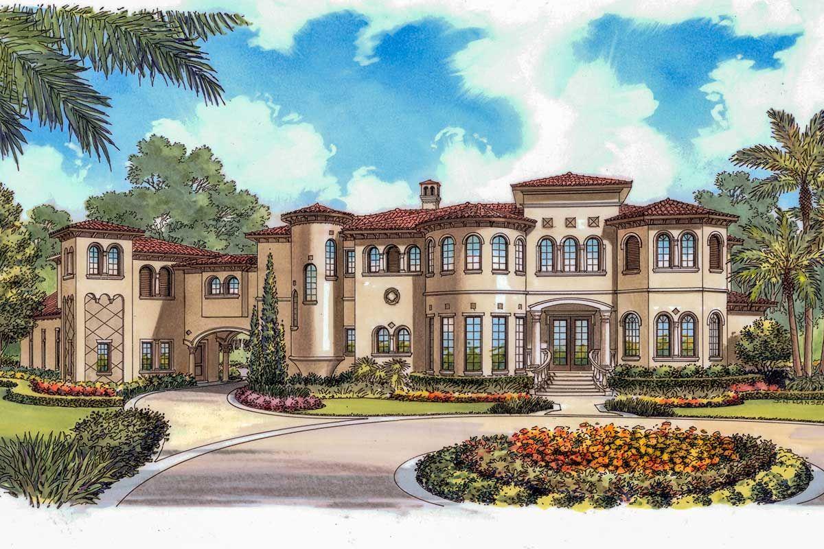 Plan 63254hd Opulent Mediterranean Home Plan In 2020 Mediterranean House Plans Tuscan House Plans Mediterranean Homes
