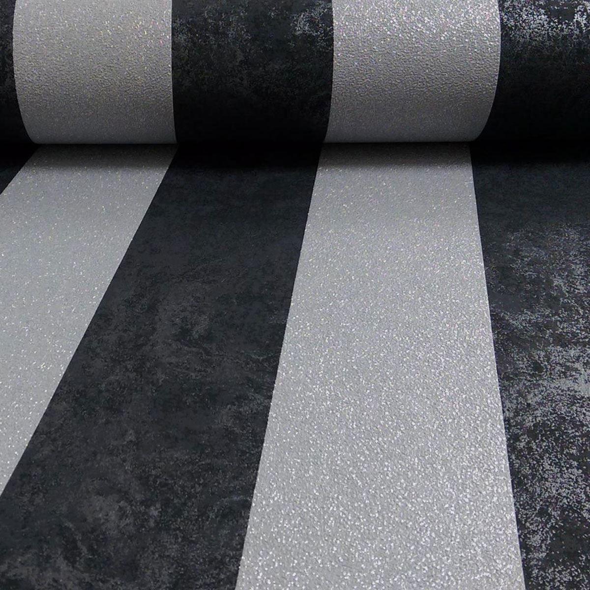Carat Glitter Stripe Wallpaper 1334640 In Black & Silver