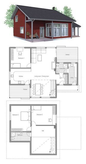 Home Plan I Would Change To Shed Roof Mcm It Up Clerestory Windows But I Really Like That Bumped Out Entry House Plans Small House Plans House Blueprints