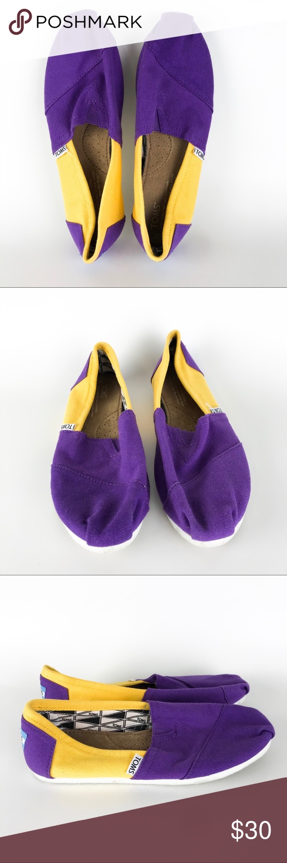 TOMS East Carolina Yellow Purple Canvas Flats Laid-back and full of school spirit, this is the collegiate version of the classic slip-on that started it all. Styled like the traditional Argentinian alpargata, this slip-on pair features the signature TOMS toe-stitch, elastic V goring for easy on and off, and a comfortable, cushioned suede footbed. Doubles as Lakers game day canvas.   Size 7 W    Condition  Excellent condition preowned with no flaws noted. Toms Shoes Flats & Loafers #shoegame