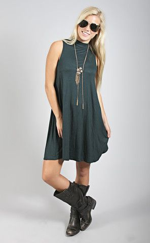 rock solid tank dress - teal from ShopRiffraff.com