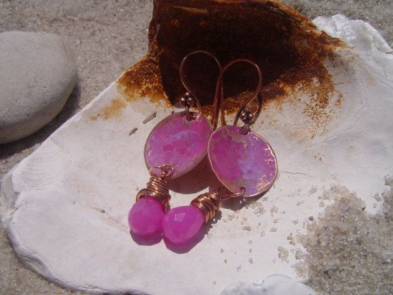 Hammered Copper Earrings with Fuchsia Quartz by CopperMountainGems, $23.00