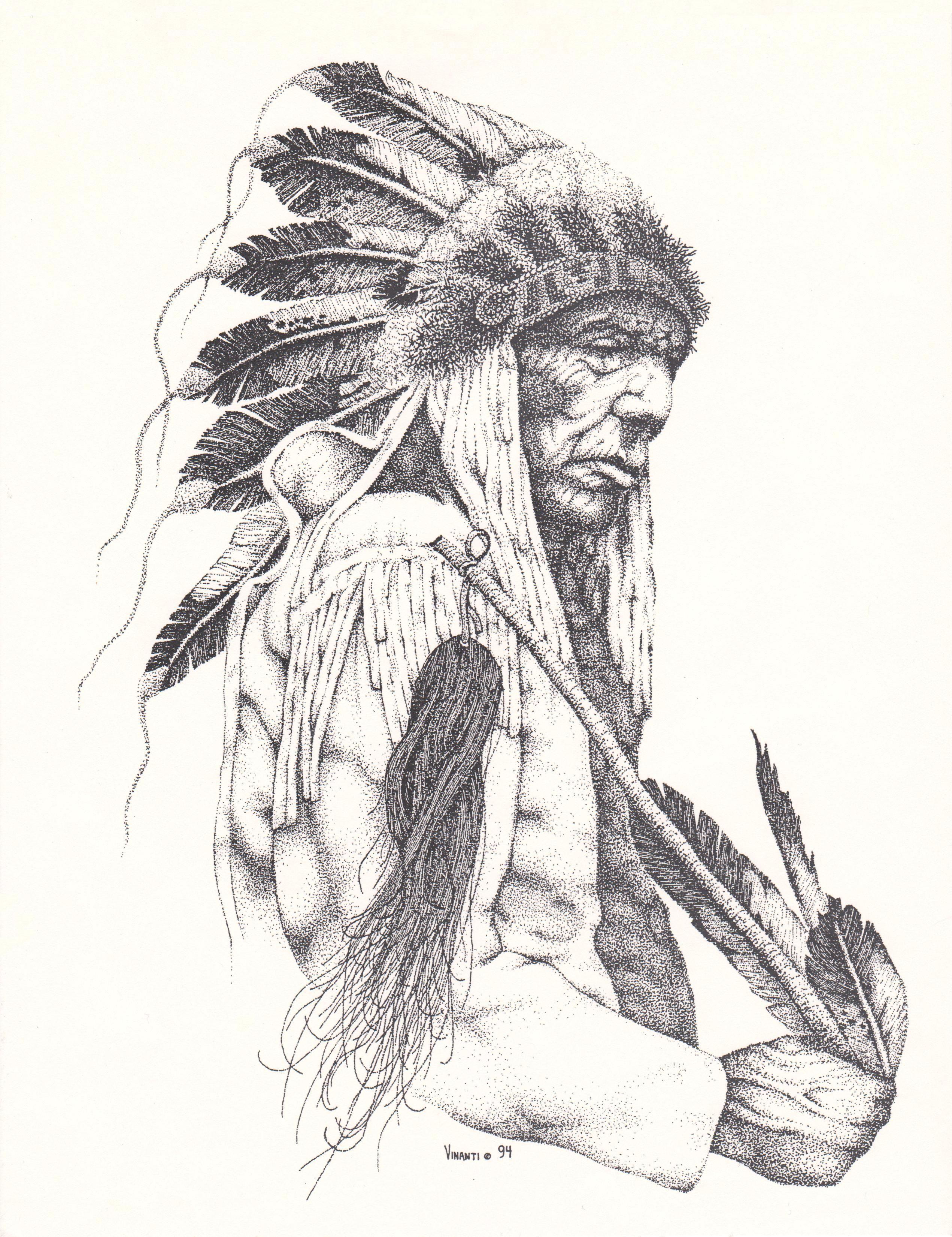 Cheyenne Chief, Pointillism American indian tattoos