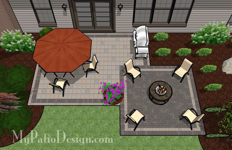 The Small Concrete Paver Patio Design With Seat Wall Is A Perfect And  Affordable Way To Add Style And Color To Your Backyard. Patio Layouts And  Matu2026