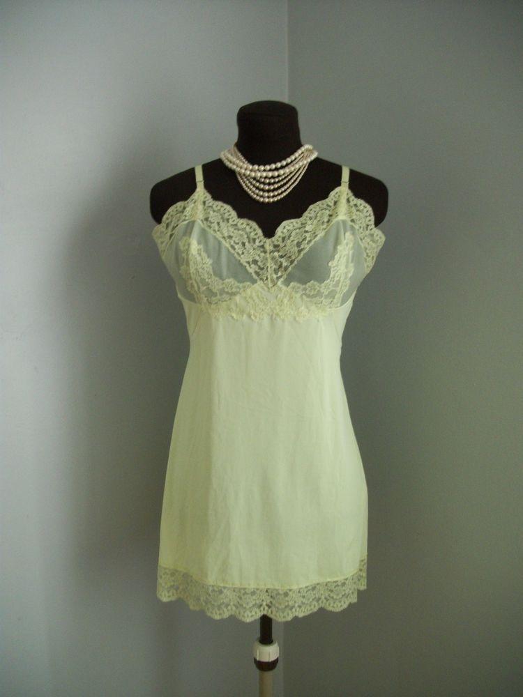 f6aab82af Vintage 1960 s Chartreuse Lace Slip Dress Hollywood Vassarette Sz Sm  Gorgeous  HollywoodVassarette  Slip