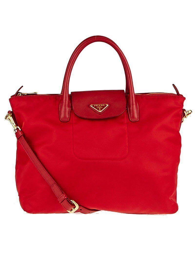 Prada Classic Red Tessuto Nylon Saffiano Leather Trim Large Tote Bag ... 682b99c147e4c