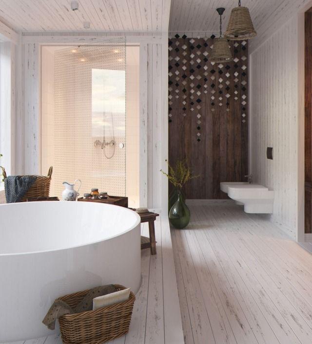 Badezimmer wohnlich gestalten mit viel Holz-weiße Bodendielen mit ...