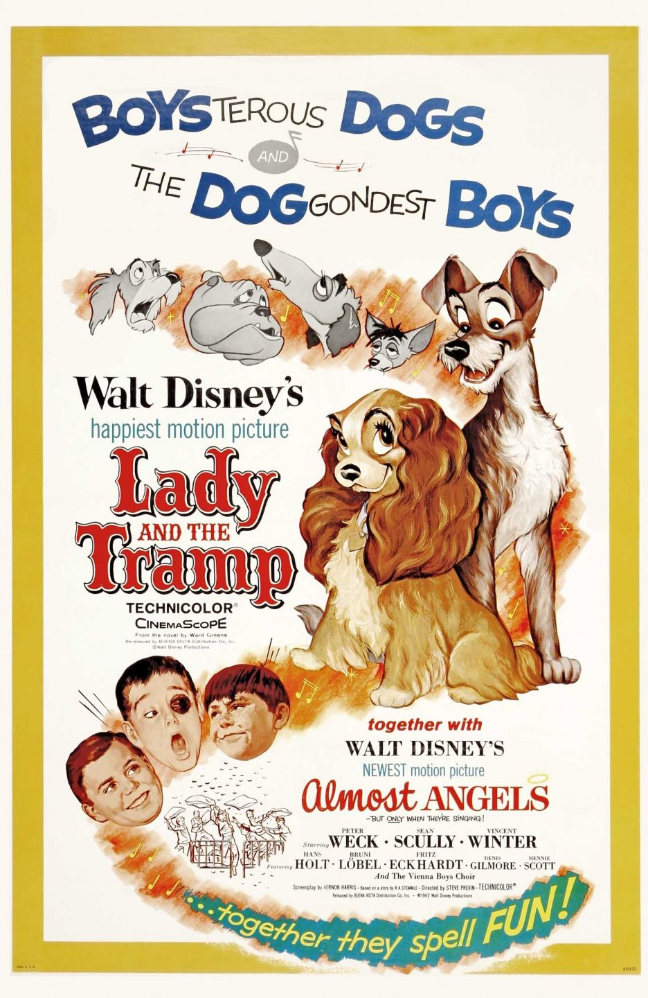Lady And The Tramp 1955 And Almost Angels 1962 Lady And The Tramp Disney Movie Posters Angel Movie