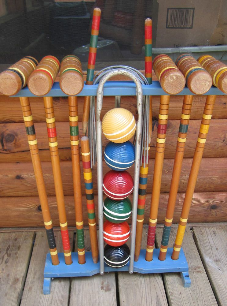 6 player vintage croquet set with wooden stand complete southbend toy co - Croquet Set