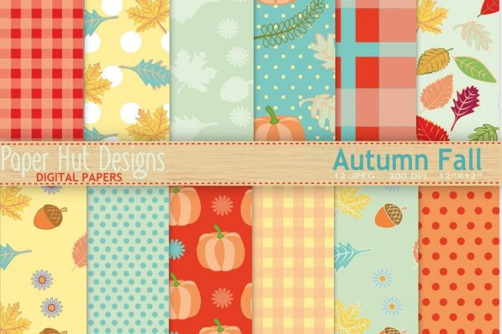 Autumn Fall Digital Papers By PaperHutDesigns perfect for many - name card example