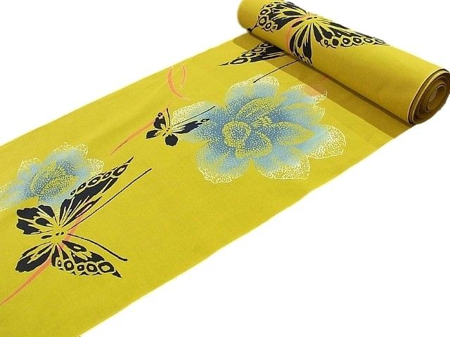 This is a vivid mustard color Cotton Bolt for Yukata by brand name Kansai