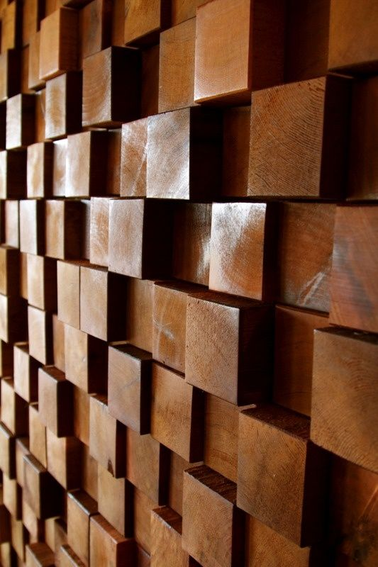 wood block wall treatment - Google Search - I Like This Accent Wall. 4x4's Cut And Mounted With Adhesive. End