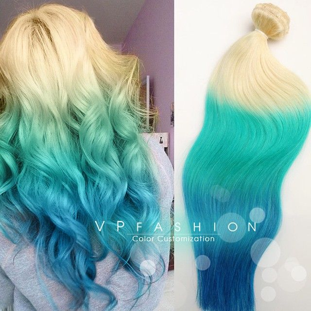 Customize Ombre Colorful Hair Extension Blonde To Lake Blue Hair