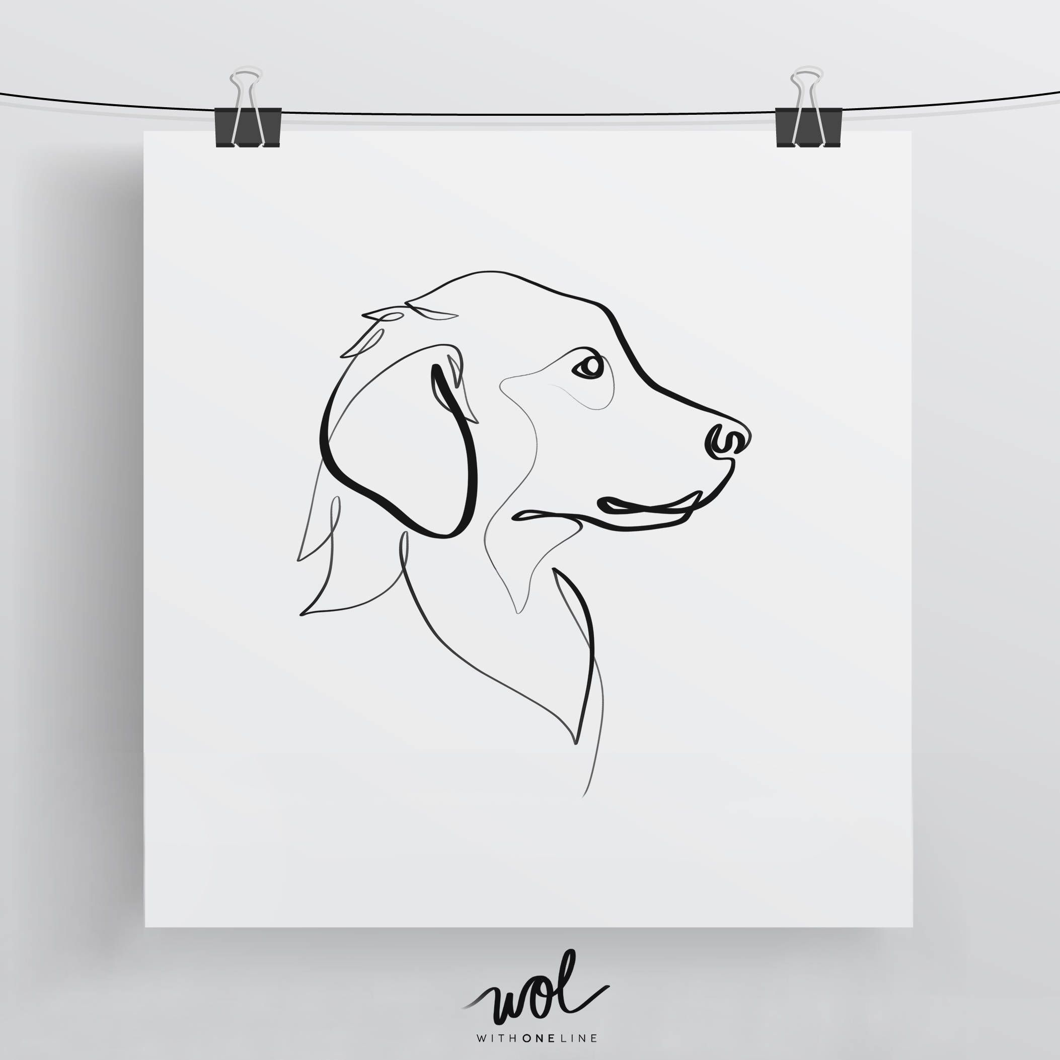 Line Drawing Golden Retriever : Golden retriever print original one line art minimal dog